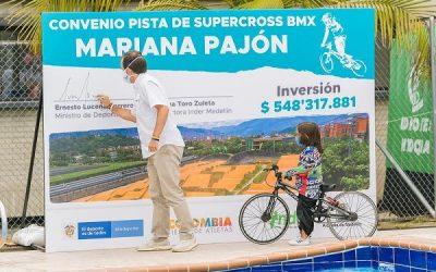 Se firmó el convenio para modificar la pista Mariana Pajón